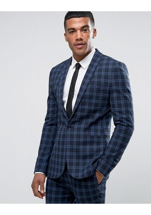 ASOS Super Skinny Suit Jacket in Tonal Blue Check - Blue