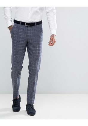 ASOS Wedding Skinny Suit Trouser In Blue Wool Mix Grid Check - Blue