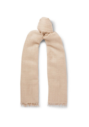 Begg & Co - Staffa Fringed Cashmere And Silk-blend Scarf - Beige