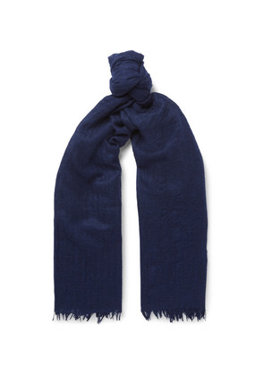 Begg & Co - Staffa Fringed Cashmere And Silk-blend Scarf - Navy