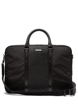 Pelle Tessuta woven-leather and nylon briefcase