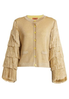 Fringed-sleeve knit cardigan