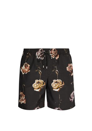 Rose-print swim shorts