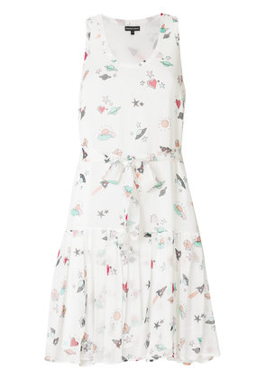 Emporio Armani heart and planet print dress - White