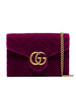 Gucci fuchsia GG Marmont velvet wallet on a chain - Pink & Purple