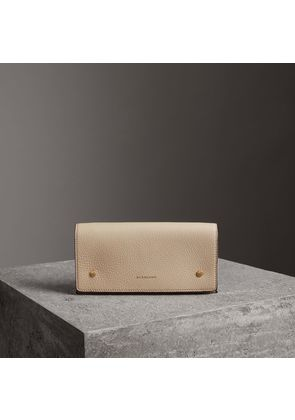 Burberry Two-tone Leather Continental Wallet, Grey
