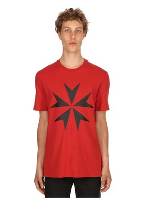 STAR PRINTED COTTON JERSEY T-SHIRT