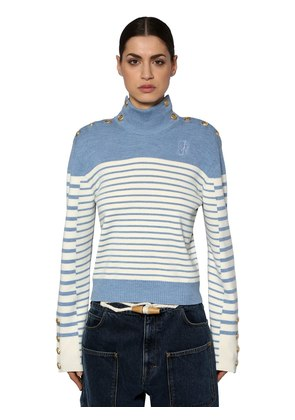 STRIPED WOOL KNIT SWEATER W/ BUTTONS