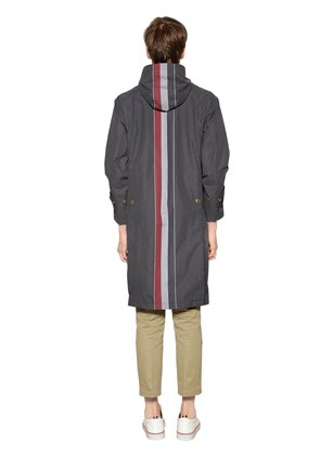 HOODED REFLECTIVE STRIPES COTTON PARKA