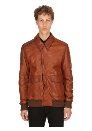 LASER-PRINTED VINTAGE LEATHER BOMBER