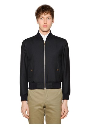 ZIP-UP WOOL TWILL BOMBER JACKET