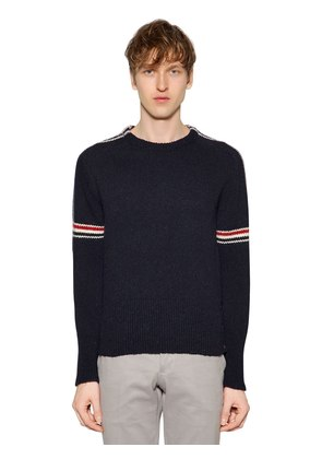 INTARSIA STRIPES WOOL & MOHAIR SWEATER