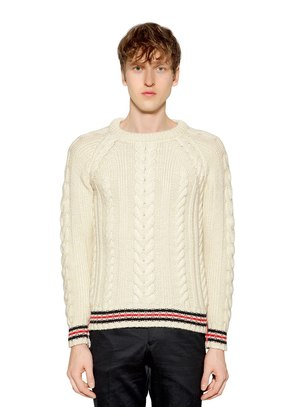 WOOL CABLE KNIT SWEATER W/ STRIPED EDGES