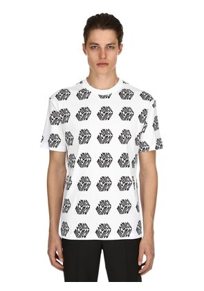 MCQ CUBE PRINTED COTTON JERSEY T SHIRT