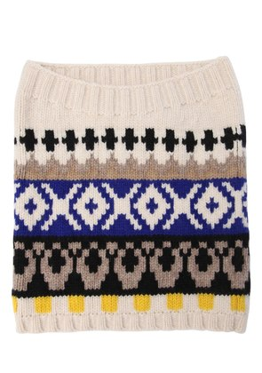 WOOL JACQUARD KNIT TUBE COLLAR