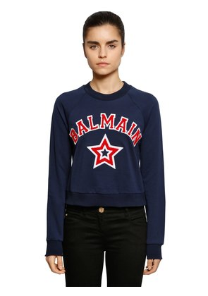 LOGO PATCHES CROPPED JERSEY SWEATSHIRT