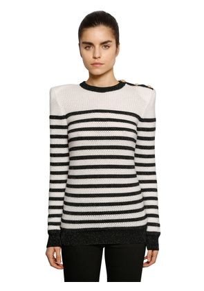 STRIPED INTARSIA KNIT SWEATER W/ BUTTONS