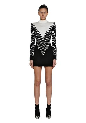 INTARSIA KNIT SWEATER DRESS