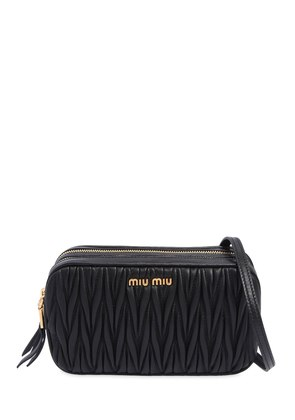 DOUBLE ZIP QUILTED LEATHER CAMERA BAG