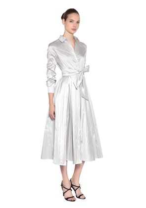 SILK SHANTUNG SHIRT DRESS
