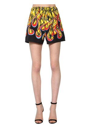 BANANA FLAMES PRINTED POPLIN SHORTS