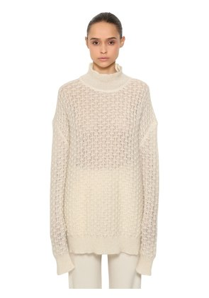 OVER MOHAIR & SILK SHEER KNIT SWEATER