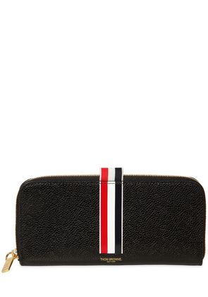 STRIPE PEBBLED LEATHER ZIP AROUND WALLET