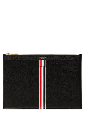 MEDIUM STRIPES PEBBLED LEATHER POUCH