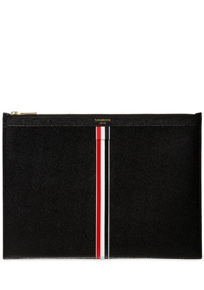 LARGE STRIPES PEBBLED LEATHER POUCH
