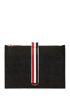 SMALL STRIPES PEBBLED LEATHER POUCH