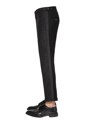 SKINNY UNCONSTRUCTED LOW RISE WOOL PANTS