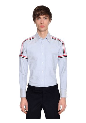 ELASTIC STRIPES COTTON OXFORD SHIRT