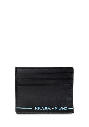 LEATHER CARD HOLDER W/ CONTRAST LOGO