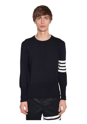 INTARSIA STRIPES WOOL MILAN KNIT SWEATER