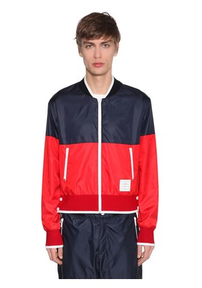 TWO TONE NYLON RIPSTOP BOMBER JACKET