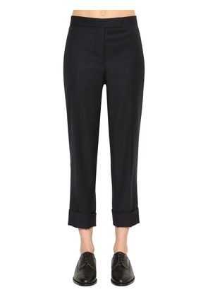 CROPPED WOOL TWILL PANTS