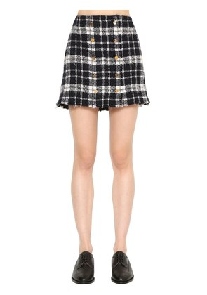 FRAYED PLAID TWEED MINI SKIRT