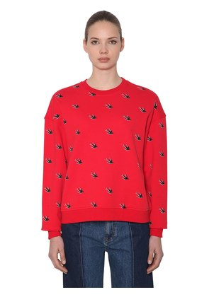 SWALLOWS FLOCKED COTTON SWEATSHIRT