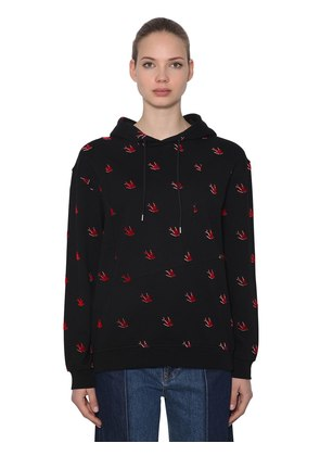 OVERSIZED SWALLOWS FLOCKED SWEATSHIRT
