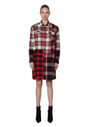 PATCHWORK COTTON PLAID SHIRT DRESS