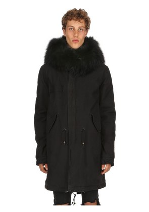 HOODED COATED COTTON PARKA W/ FUR TRIM