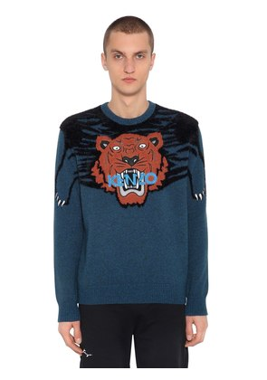 TIGER INTARSIA BRUSHED KNIT SWEATER