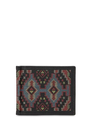 ETHNIC LEATHER WALLET W/ MONEY CLIP