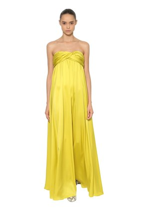 STRAPLESS SILK SATIN LONG DRESS