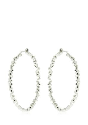 SILVER CIRCLE RICE HOOP EARRINGS