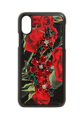 ROSES & CRYSTALS LEATHER IPHONE X CASE