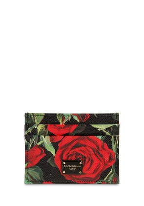 ROSES PRINT DAUPHINE LEATHER CARD HOLDER
