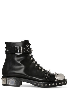 30MM STUDDED LEATHER ANKLE BOOTS