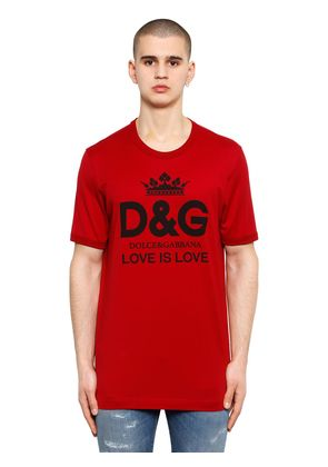 LOVE IS LOVE LOGO PRINT COTTON T-SHIRT