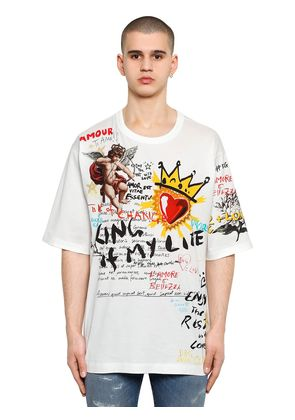 OVERSIZE MURAL PRINTED COTTON T-SHIRT